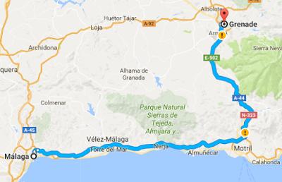 Malaga Grenade par la costa del sol