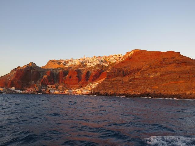 Coucher de soleil depuis mer santorin