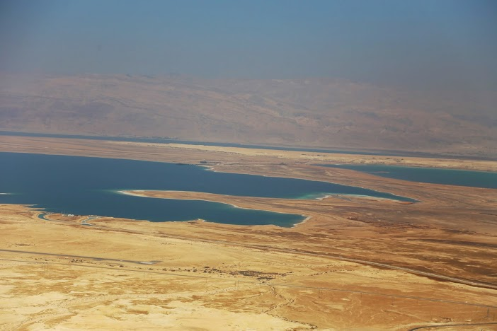 Vue sur mer morte fort de Massada