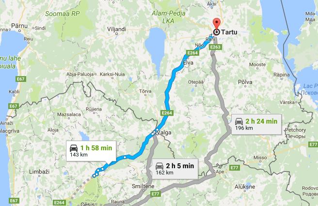 Itinéraire parc national de la Gauja vers Tartu