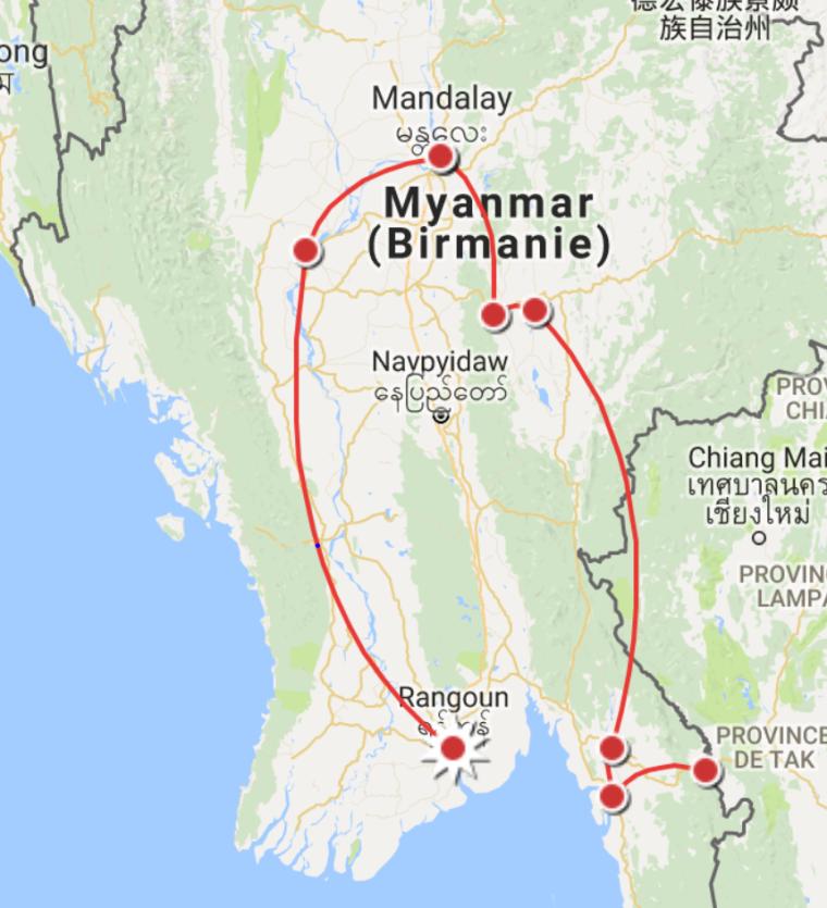 Itinéraire Birmanie 24 jours