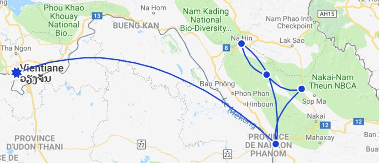 Itinéraire boucle de thakhek Laos