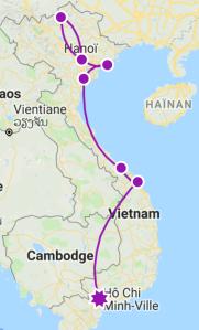 Itinéraire Vietnam 1 mois